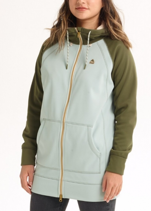 Mikina Burton Crown Long Full-Zip aqua green/feef 2019/20 dámská