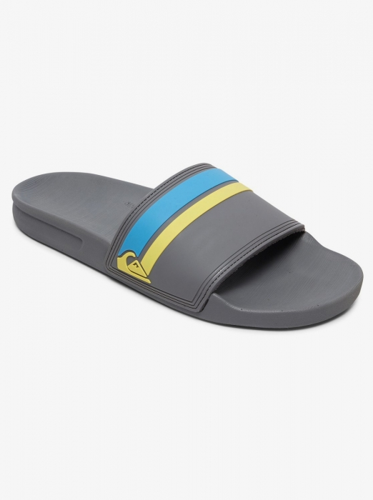 Pantofle Quiksilver Rivi Slide Slider grey/blue/yellow 2020